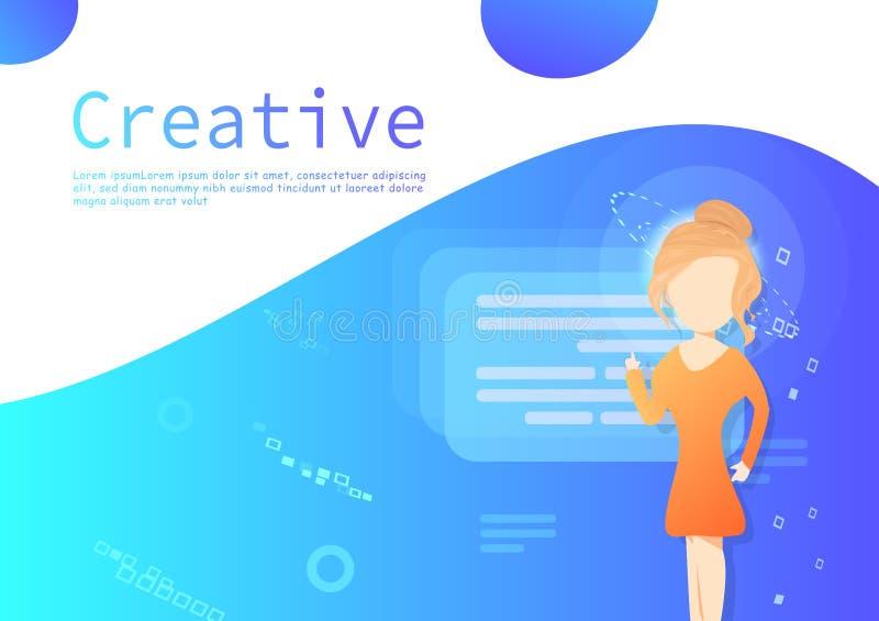 Affärsmarknadsföringsvektor, presentation för bakgrund för för design för idérikt tecken för kvinna plan, för hyra och arbetafolk stock illustrationer