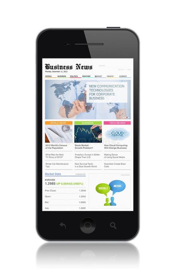 Affärsmassmedia på den moderna smartphonen royaltyfri illustrationer