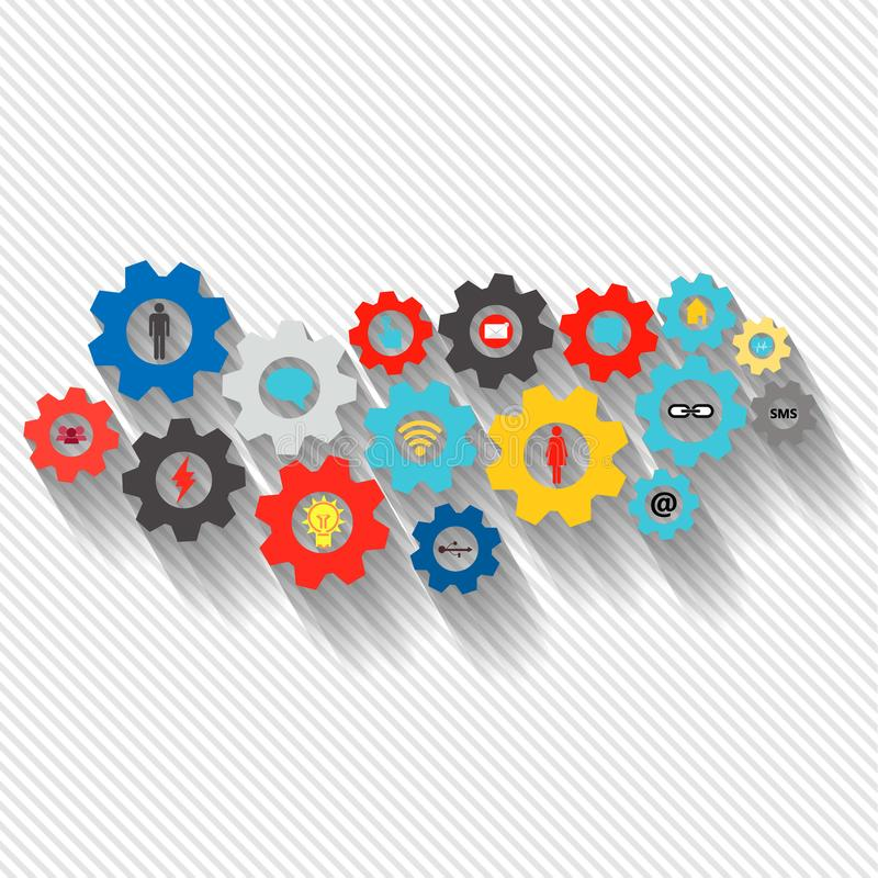 Affärsmekanismbegrepp Abstrakt bakgrund med förbindelsekugghjul och symboler för strategi, service, analytics, forskning, seo, stock illustrationer
