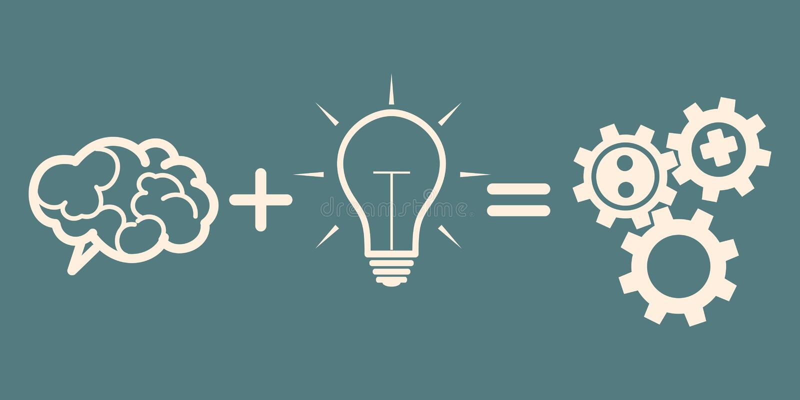 Affärsmekanismbegrepp hjärna plus idé = kugghjul stock illustrationer