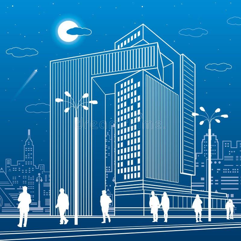 Affärsmitt, stads- arkitektur Folk som går på stadsgatan Vektordesignkonst stock illustrationer