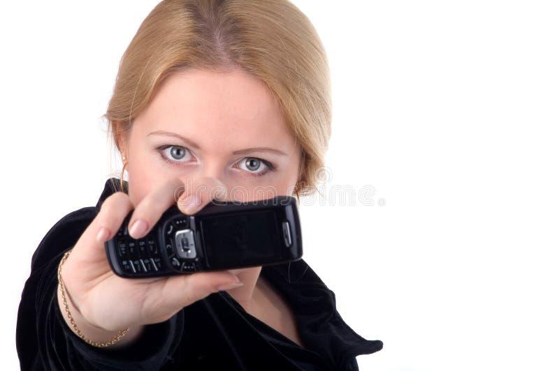 affärsmobiltelefon henne kvinna royaltyfri bild