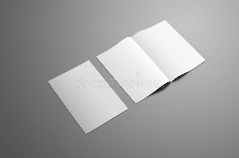 Affärsmodell med två A4, bi-veck A5 broschyr med realis royaltyfri foto