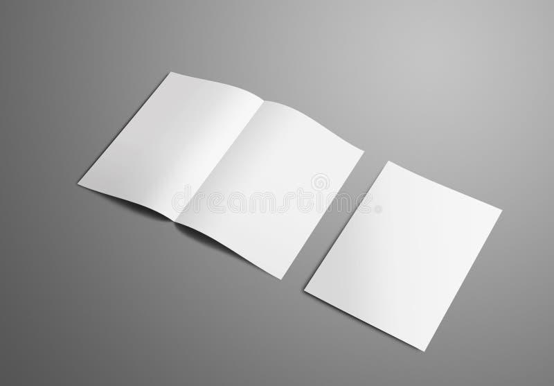 Affärsmodell med två A4, bi-veck A5 broschyr med realisten arkivbild