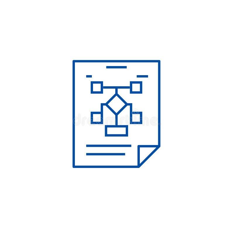 Affärsorganisation, flödesdiagramlinje symbolsbegrepp Affärsorganisation, symbol för vektor för flödesdiagram plant, tecken, över vektor illustrationer