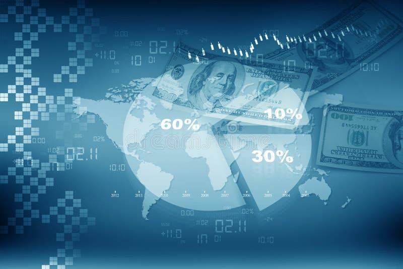 Affärspajdiagram med dollaren stock illustrationer
