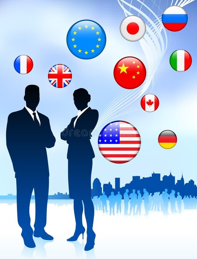 Affärspar på internetflagga royaltyfri illustrationer
