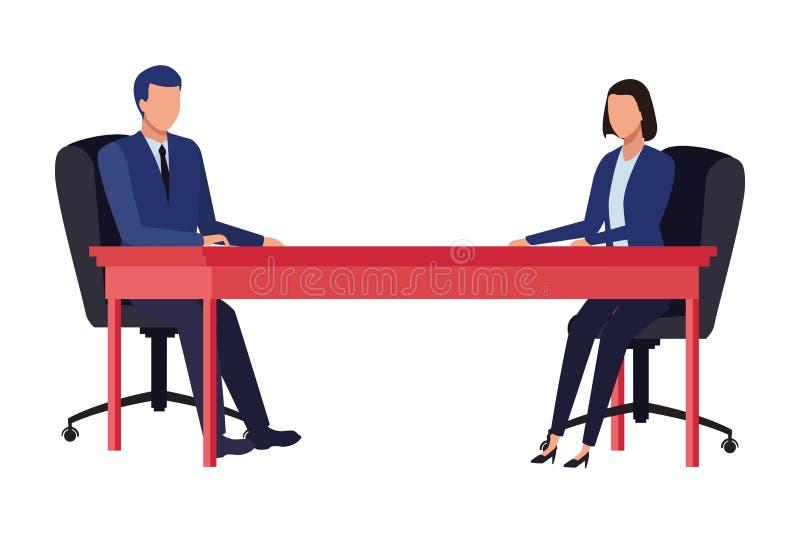 Affärsparavatar på ett skrivbord royaltyfri illustrationer