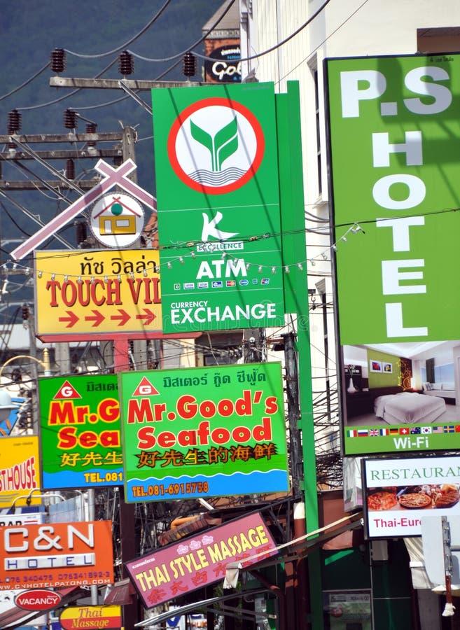 affärspatong shoppar tecken thailand royaltyfria foton