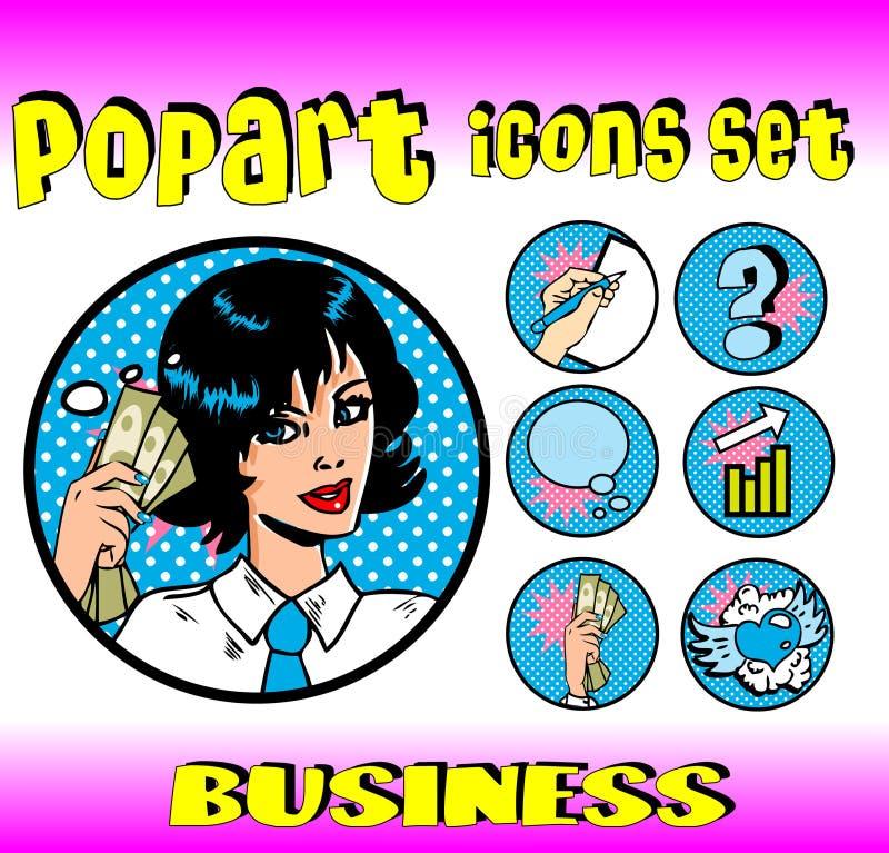 affärspengar undertecknar den övre kvinnan royaltyfri illustrationer