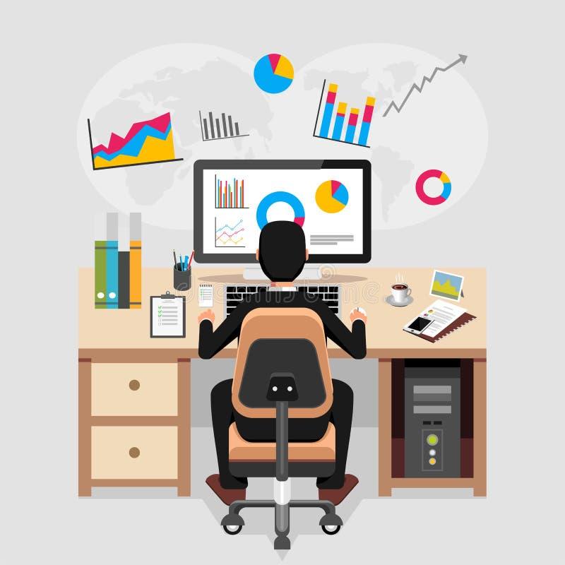 Affärsperson som arbetar och analyserar finansiell statistik Begrepp för affärsanalys stock illustrationer
