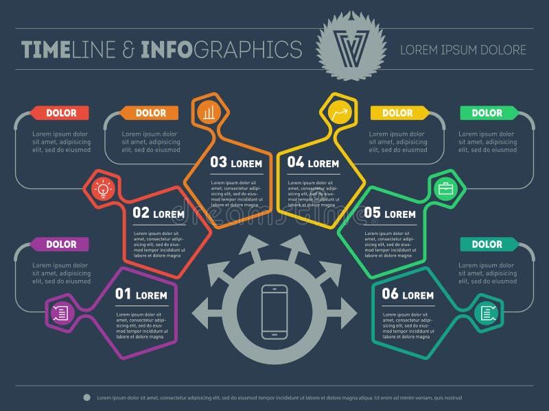 Affärsplan med sex moment Infographic med designbeståndsdelar vektor illustrationer