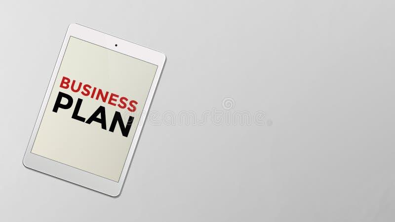Affärsplan som är skriftligt på skärmen av datorminnestavlan stock illustrationer