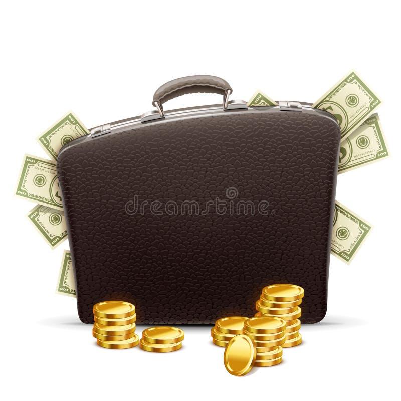 Affärsportfölj mycket av pengar vektor illustrationer