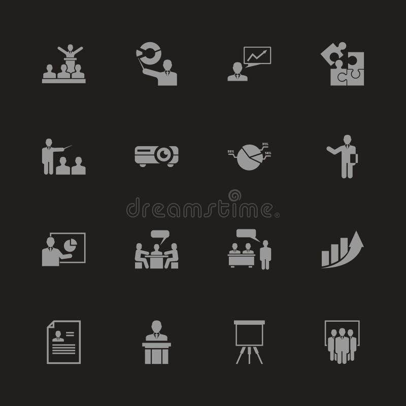 Affärspresentation - plana vektorsymboler stock illustrationer