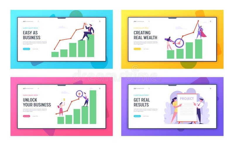 Affärspresentation som marknadsför uppsättningen för sida för landning för lösningsutvecklingsWebsite, anställda som utför ny pro vektor illustrationer