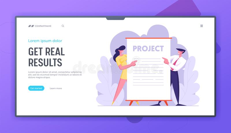 Affärspresentationen, Businesspeople står nära enormt tomt plakat eller tecken Kontorsanställda som utför nytt projekt vektor illustrationer