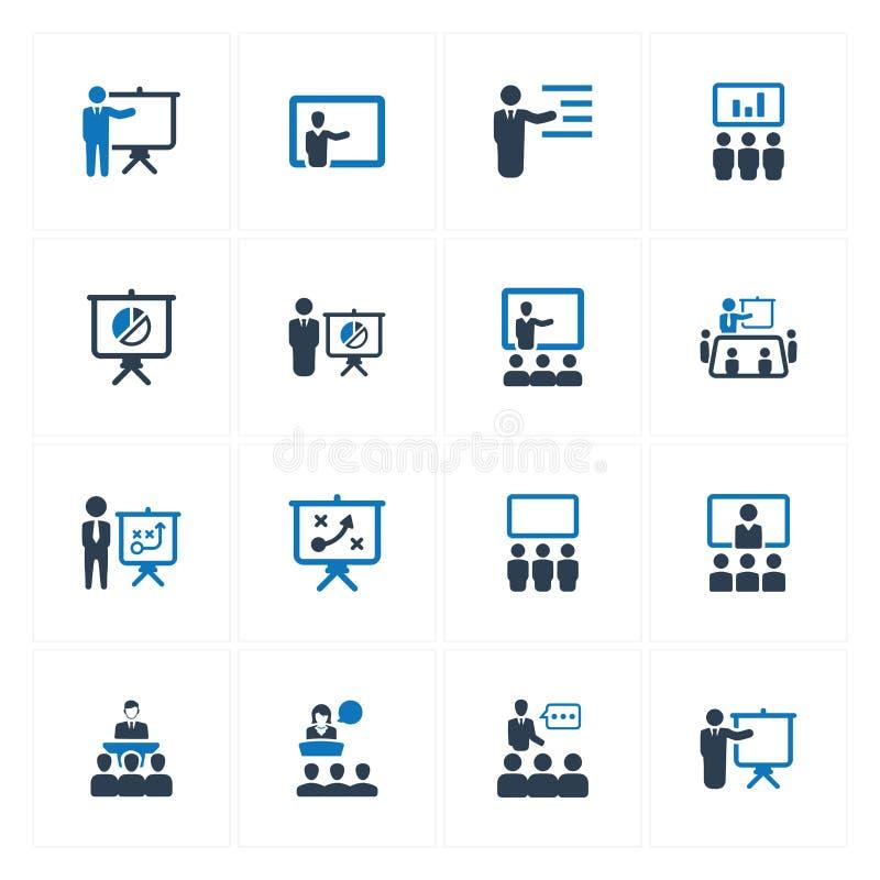 Affärspresentationssymboler - blå version stock illustrationer
