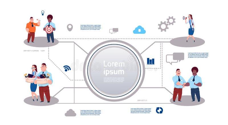 Affärsprocess som är infographic på vit bakgrund, förhållanden för affärsgrupp Kan användas för baner, diagram, numrerar stock illustrationer