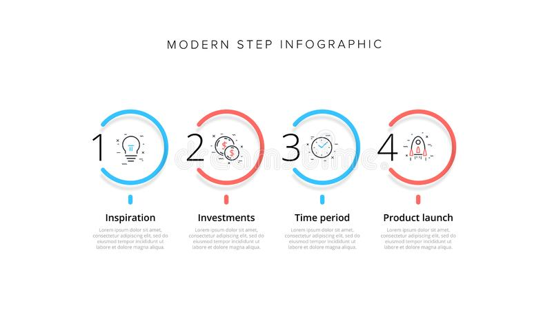 Affärsprocessdiagram som är infographic med 4 momentcirklar Runda företags workflowdiagrambeståndsdelar E stock illustrationer
