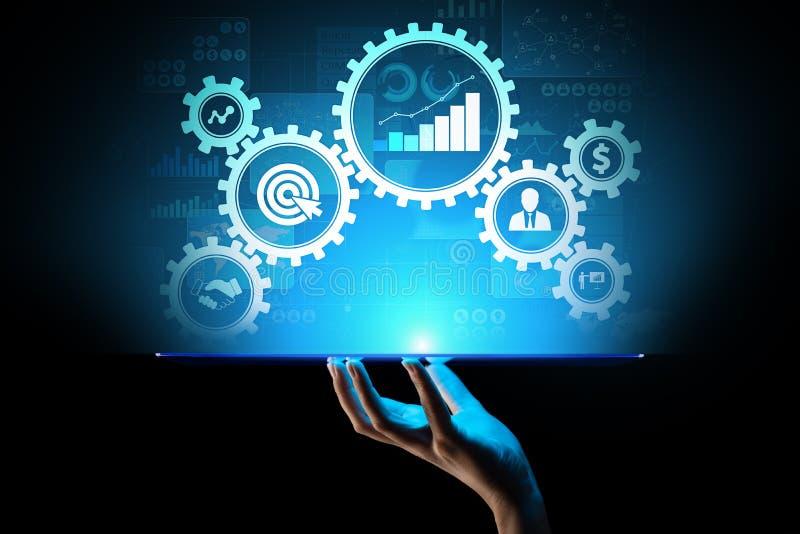 Affärsprocessledning, automationworkflowen, dokumentgodkännande, förband kugghjulkuggar med symbolsteknologibegrepp vektor illustrationer