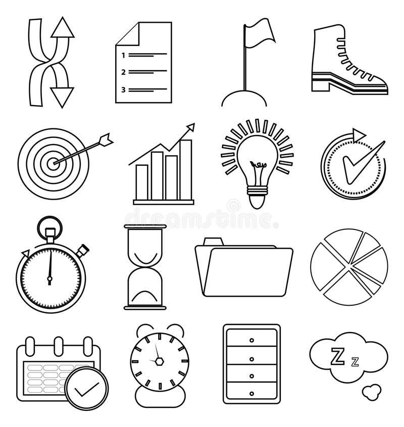 Affärsproduktivitetslinje symbolsuppsättning royaltyfri illustrationer