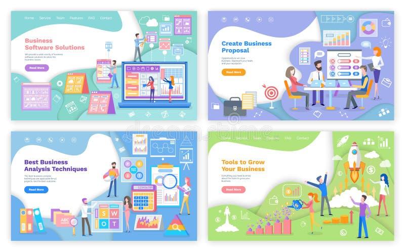 Affärsprogramvarulösningen, skapar proposition stock illustrationer