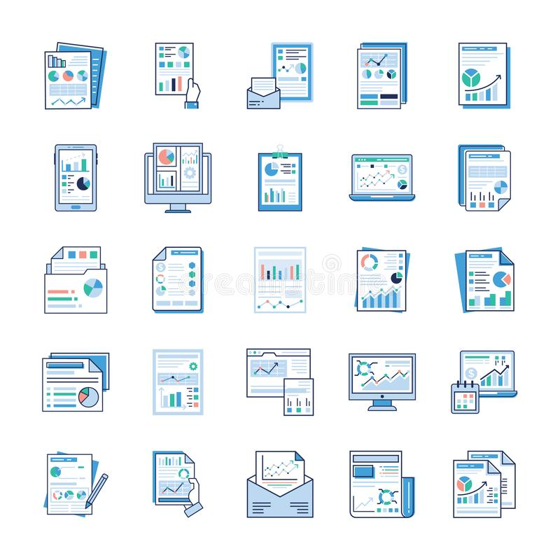 Aff?rsrapporter, statisk analys, finansiell rapport, plana symboler packar stock illustrationer