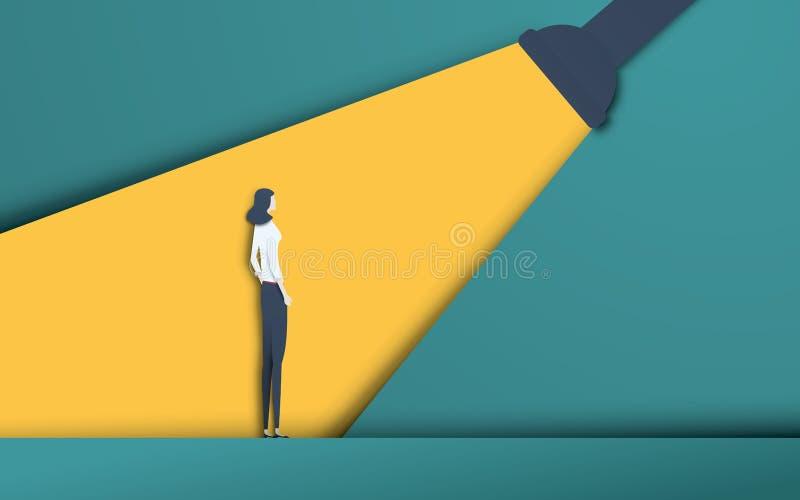 Affärsrekrytering och talang som jagar huvuden vektorbegrepp i modern utklippstil för papper 3d Affärskvinna i strålkastare royaltyfri illustrationer