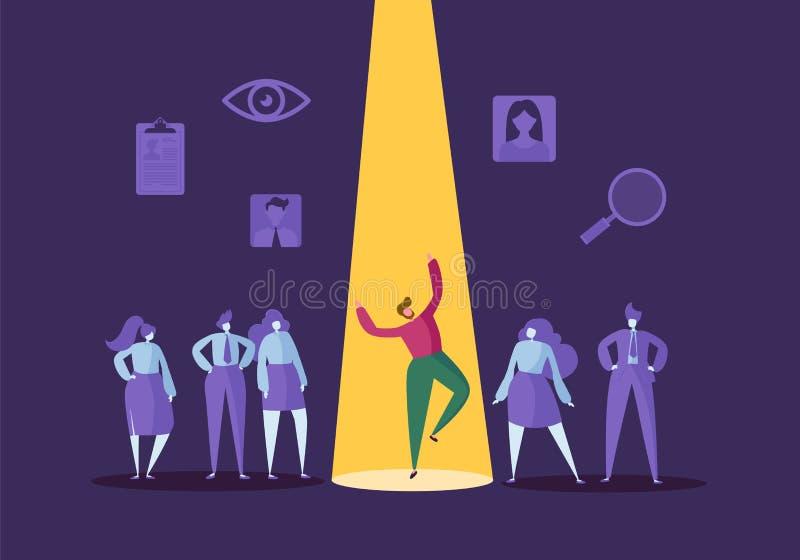 Affärsrekryteringbegrepp med plana tecken Arbetsgivare som väljer mannen från grupp människor Hyra personalresurser vektor illustrationer