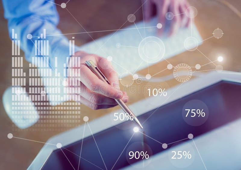 Affärssamkopieringsmanöverenhet med den affärspersonen och datoren arkivfoto