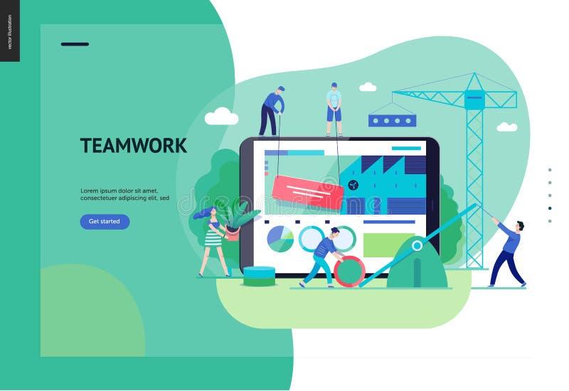 Affärsserie - teamwork- och samarbetsrengöringsdukmall royaltyfri illustrationer