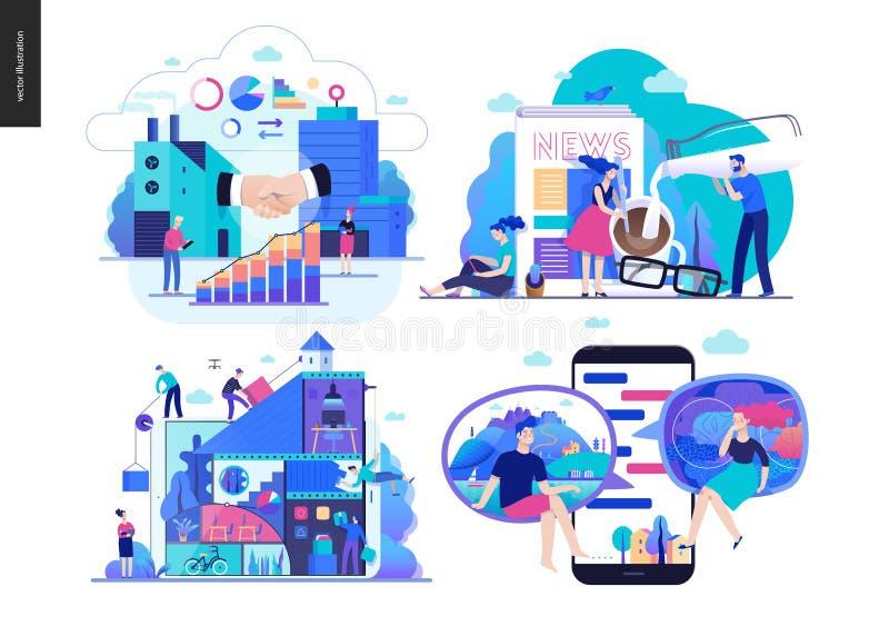Affärsserie - uppsättning stock illustrationer