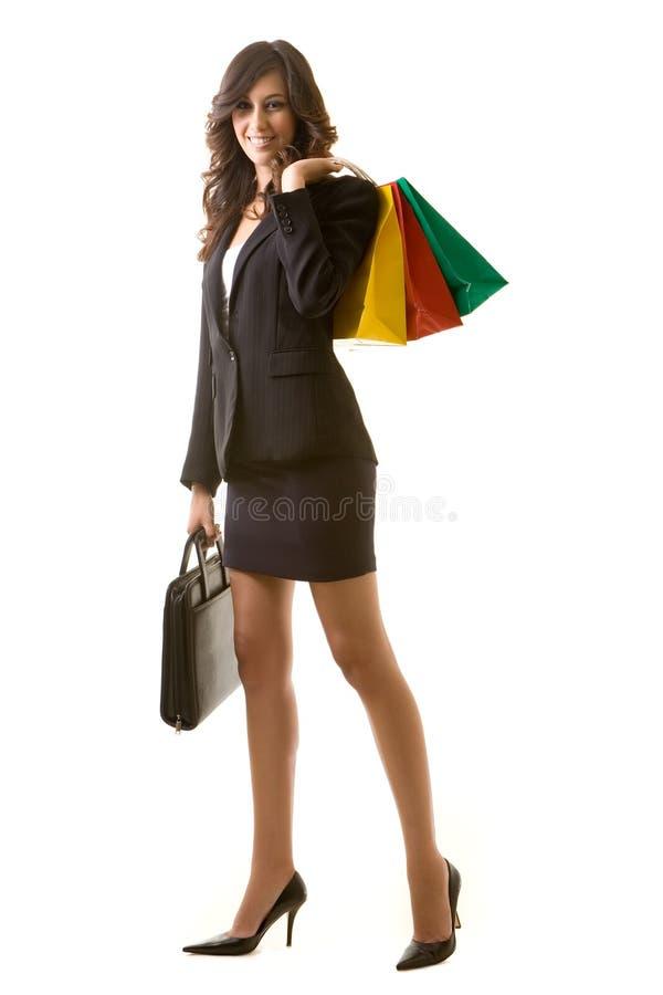affärsshoppingkvinna royaltyfria bilder