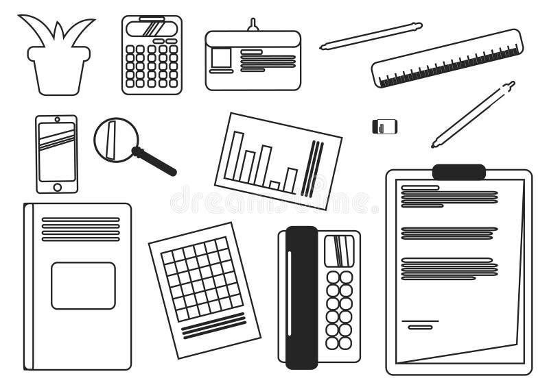 Affärsskrivbordutrustning arkivbild