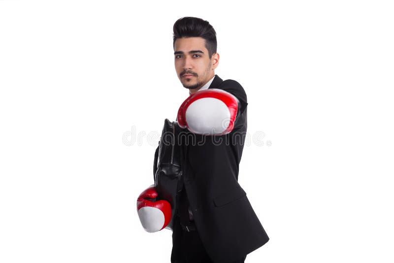 Affärsskyddsbegrepp, man i boxninghandskar royaltyfri bild