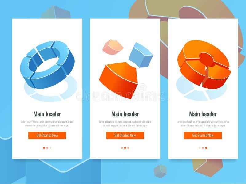 Affärsstatistik, baner med cirkeldiagrammet, analytics och isometrisk vektor för informationsstatistik stock illustrationer