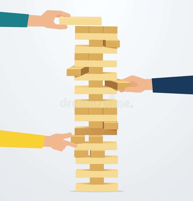 Affärsstrategi och risk Händer förlägger träkvarter stock illustrationer