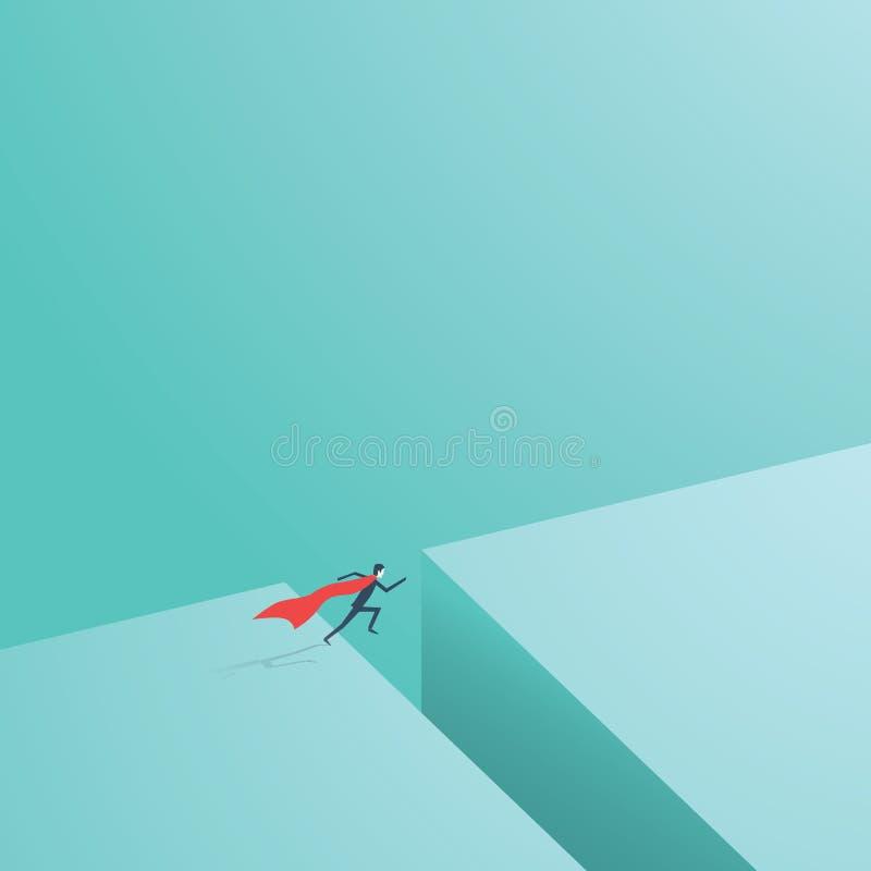 Affärssuperhero som flyger över mellanrum som ett symbol av affärssupermakter royaltyfri illustrationer