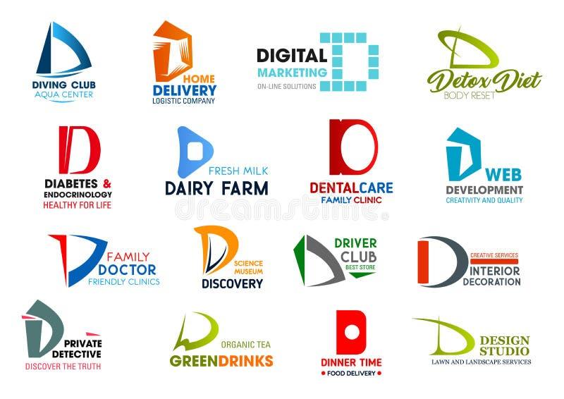 Affärssymboler, bokstav D, företags identitet stock illustrationer