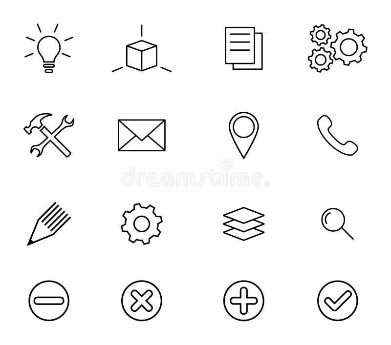 Affärssymboler, uppsättning av minsta översiktstecken och symboler, affär och kontorsbegrepp vektor illustrationer