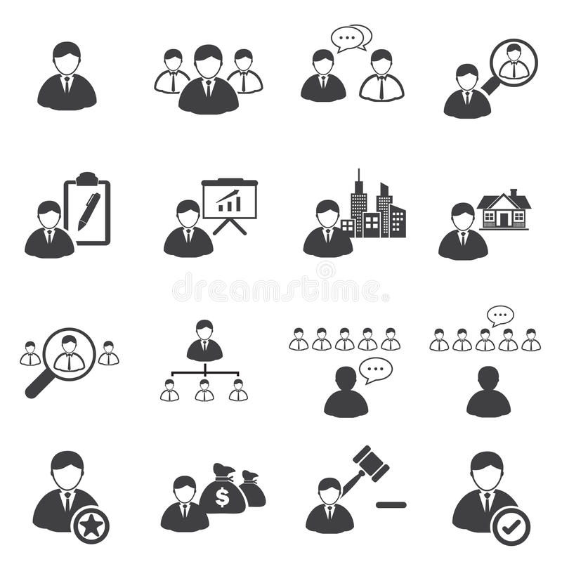Affärssymboler uppsättning, ledarskap vektor illustrationer