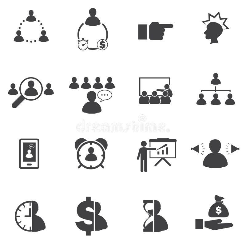 Affärssymbolsuppsättning, affärsfolk vektor illustrationer