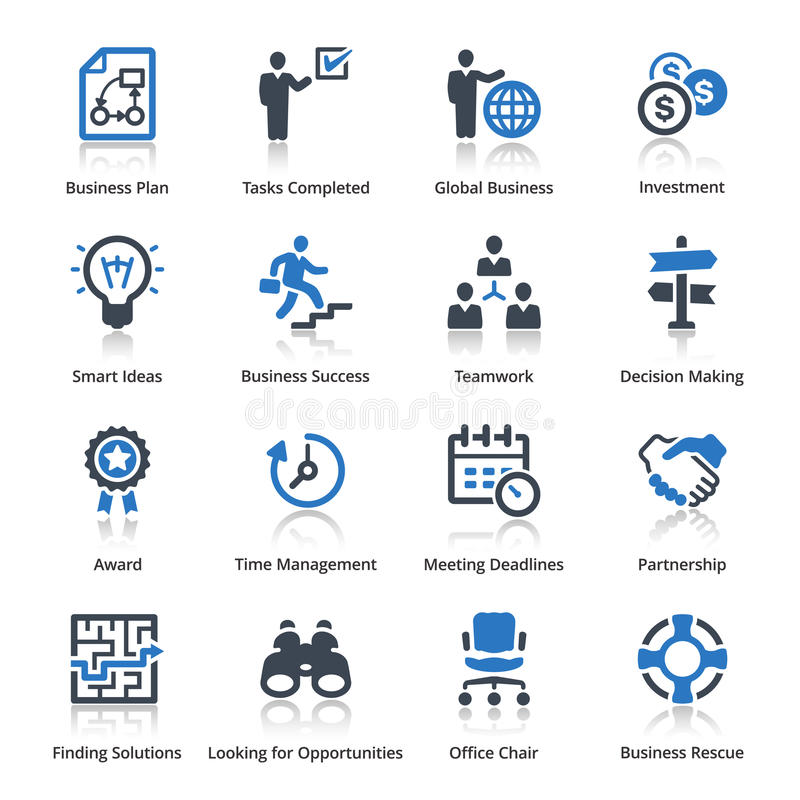 Affärssymbolsuppsättning 3 - blå serie vektor illustrationer
