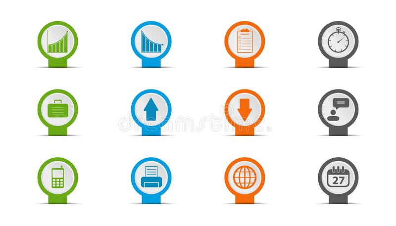Affärssymbolsuppsättning - klistermärken eller Pin Design With Shadow - vektorillustration - som isoleras på vit bakgrund stock illustrationer