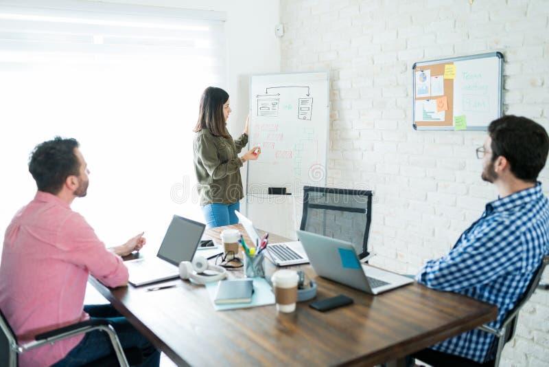 AffärsTeam Discussing Over Plan In kontor fotografering för bildbyråer
