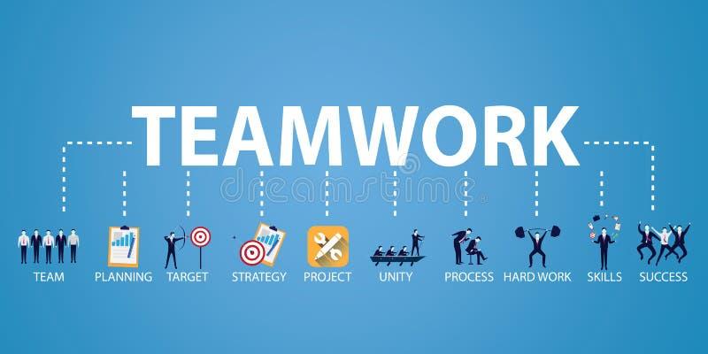 Affärsteamwork Team Hard Work Concept också vektor för coreldrawillustration vektor illustrationer