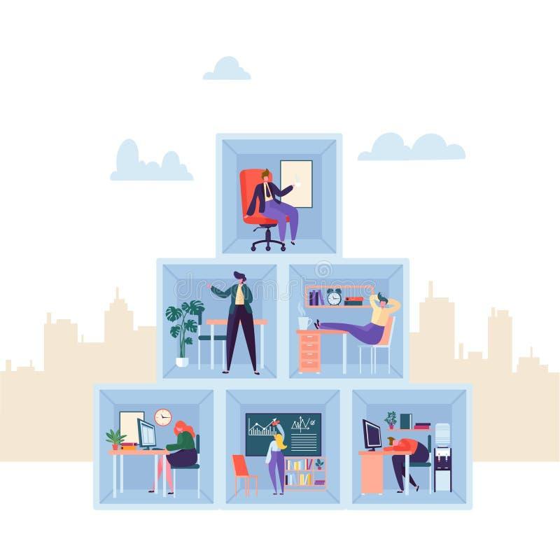 Affärstecken som i regeringsställning arbetar Avdelning för företag för tre golv företags med affärsfolk organisation vektor illustrationer