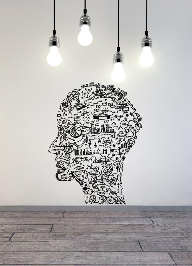 Affärsteckning i form av manhuvudet med lampor över arkivbild