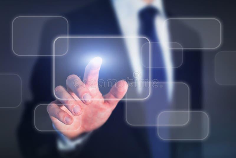 affärsteknologibegrepp, pekskärmmanöverenhetsknapp, ledning arkivfoton
